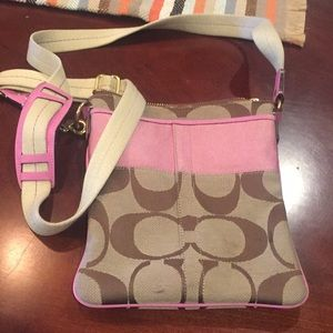 Authentic Brown and Pink Coach sling purse